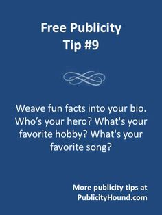 93 best book publicity and book pr images on pinterest magazine ask yourself 12 questions and then weave some of the answers into the routine information about your life use your bio to tell a story include personal fandeluxe Choice Image