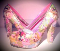 disney princess pumps shoes | Disney Princess Inspired Crystal and Decoupage Heeled Platform shoes