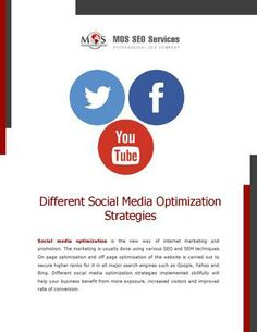 Different Social Media Optimization Strategies - By using innovative #socialmediaoptimization strategies you can increase the ranking of your website in various search engines.