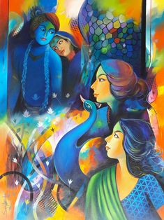 Buy artwork number , a famous painting by an Indian Artist . Indian Art Ideas offer contemporary and modern art at reasonable price. Indian Folk Art, Indian Artist, Krishna Art, Radhe Krishna, Krishna Painting, Indian Art Gallery, Composition Painting, African Art Paintings, Peacock Painting