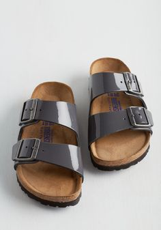 Strappy Camper Sandal in Patent Grey