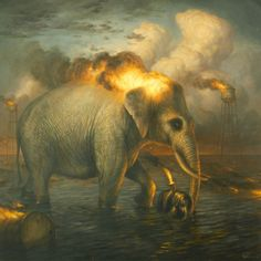 Martin Wittfooth transposes the temperament we typically associate with large animals to those much smaller, painting foxes and birds as the heroic victors of this works while making larger animals much more passive and calm. Each of his paintings feature these creatures in environments that dev