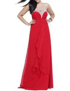 OYISHA Women's Beaded Sweetheart Ruffled Prom Homecoming Dresses Red Custom. Features: Floor Length Strapless Beading Chiffon Formal Party Dress,wedding dress,ball or weding guest dress. Fabric: Chiffon. Zipper back. Handmade. Fully Lined. Dry Clean Only. Imported. Size: To make your dress fittest and perfect for you, we suggest you choose customize the dress and send your proper measurements (such as Bust, Waist, Hips, your Height, Shoes Height) via E-mail ASAP, then we can arrange...