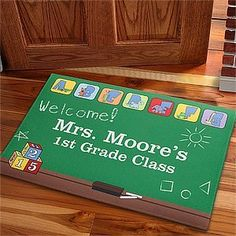 Personalized Teacher's Classroom Doormat - Little Learners . $17.20. Welcome your students to class every day of the school year with our Little Learners' Classroom Personalized Doormat! Little learners can always use a little help locating their classroom. Once they see your cheerful welcome mat, they will know they have reached their second home! Our exclusive design features a warm and friendly classroom scene topped by our own darling animal characters in blocks above the b...