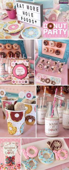 Love all of these cute ideas for a donut theme birthday party! Donut party food ideas, donut party favors, and donut party decor Donut Party, Donut Birthday Parties, 10th Birthday Party Ideas, Birthday Ideas For Girls, Birthday Board, Birthday Sleepover Ideas, Baby Girl Birthday Theme, Second Birthday Ideas, 8th Birthday