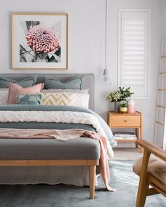 soft boho master bedroom with gray and pink accents, gray and pink bedding, feminine bedroom decor with pops of pink… – Master Bedroom Design & Guest Bedroom Design – Home Decor Ideas Feminine Bedroom, Modern Bedroom, Gray Bedroom, Blush Bedroom, Grunge Bedroom, Narrow Bedroom, Feminine Decor, Bedroom Romantic, Bedroom Classic