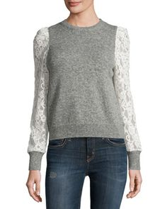 Lace-Sleeve Pullover, Heather Gray by Rebecca Taylor at Neiman Marcus.