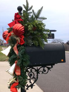 Dress Up Your Mailbox for the Holidays - Fir and pine cone swag with ...