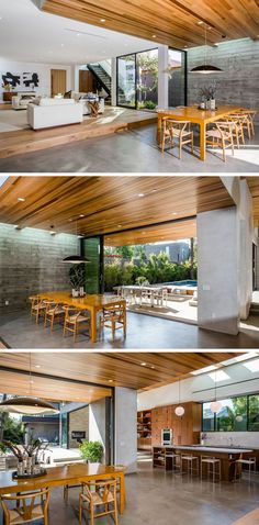 This dining space is stepped down from the living room and opens up to the backyard.