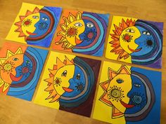 sole luna sun moon yellow blue art craft art lesson