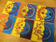 sole luna sun moon yellow blue art craft art lesson