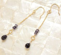 Simple drop gold and gemstone earrings