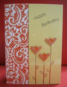 Handmade Card Happy Birthday with Lace and Flowers