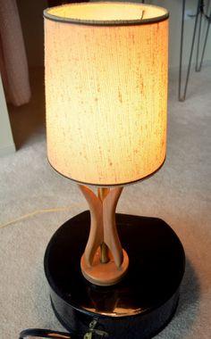Vintage Mid Century Modern Lamp Small Bedside Retro Lamp Wood Brass Lighting