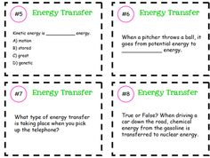 Energy Transfer Task Cards from KlaRenays Shop on TeachersNotebook.com -  (6 pages)  - Task Cards will cover the following: -kinetic and potential energy -the law of conservation of energy -different types of energy and how they transfer into different forms