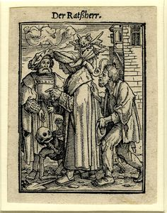 1526 (c.) Print made by: Hans Holbein the Younger Block cut by: Hans Lützelburger Published by: Melchior & Gaspar Trechsel - The Councillor; Death, holding an hourglass, crawls on the floor between three men, one of whom has a demon sitting on his neck; first published with text in Les simulachres & historiees faces de la mort, avtant elegamment pourtraictes, que artificiellement imaginées ..., Lyon, M. and G. Trechsel (for Jean and François Frellon)