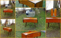 Retro Design Teak Speilkommode Sminkekommode Rastad & Relling A/S Retro Furniture, Wheelbarrow, Retro Design, Teak, Garden Tools, Antiques, Antiquities, Antique, Yard Tools
