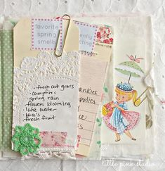 working on my little list journal from the March Little Pink Box.  (kits available in the shop)