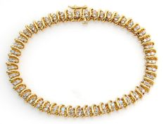 "Double Diamond Tennis Bracelet set in 10K Yellow Gold for 7"" Wrist No Reserve"