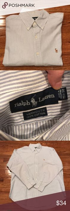 Ralph Lauren Yarmouth oxford Yarmouth oxford shirt. SIZE: 15 1/2 neck - 34 100% cotton Blue and white striped. Ralph Lauren Shirts