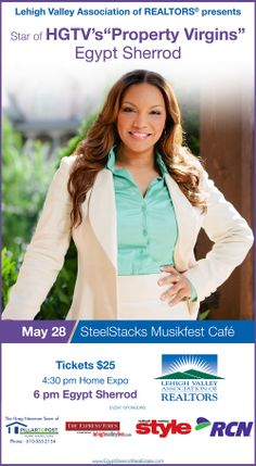 """Egypt Sherrod, host of HGTV's """"Property Virgins,"""" will be the guest speaker at LVAR's second annual Signature Event scheduled for May 28, 2014."""