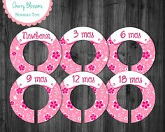 Baby Girl Closet Dividers to Organize Clothing for Baby Room | Pink Sakura Cherry Blossoms