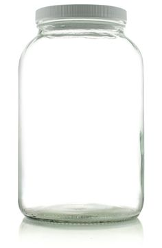 0bfdbbf68dc 1 Gallon (128 oz) Clear Widemouth Glass Jar with White Metal Lid ...
