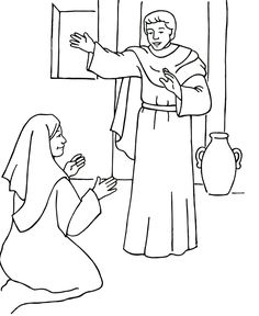 Un ángel visita a María - Página para colorear