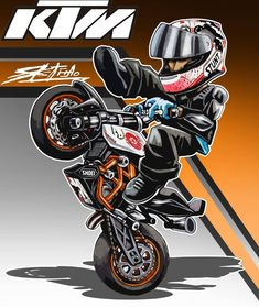 #art #draw #stunt #ktm #duke #cartoon #InspiredByProMarker #WinsorNewtonChallenge Duke Motorcycle, Duke Bike, Motorcycle Posters, Ktm Duke, Motorcycle Tattoos, Motorbike Drawing, Kawasaki Motorbikes, Motorcycle Stickers, Stunt Bike