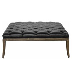 Piaget Black Leather Ottoman @LaylaGrayce Black Leather Ottoman, Tufting Buttons, Home Accents, Home Furnishings, Dining Bench, Classic Style, The Help, Upholstery, Furniture