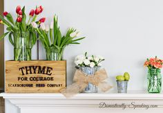 Spring Mantel 2015 Simple Beauty with greens, pinks and corals 1