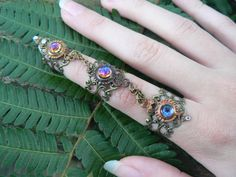 armor ring triple ring SALE 33.00 nail ring nail by gildedingypsy, $33.00