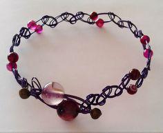 Pink Agate Purple Weave Bracelet with Purple Agate