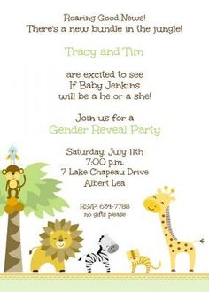 Green Jungle Animals Gender Reveal or Baby Shower