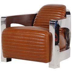 Chrome Frame Soft Leather Club Chair