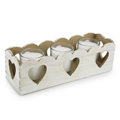 Wooden Heart Tray with 3 Candles | Candles and Candle Holders | The Range