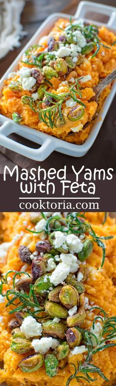 Sweet and tasty Mashed Yams cooked with butter and cream and topped with feta cheese and pistachios make an easy autumn dish. ❤ COOKTORIA.COM