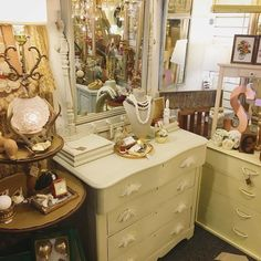 Antique dresser with built-in jewelry boxes in the booth @curiositiesvintage $150 #chalkpaint #dresser #shabbychic