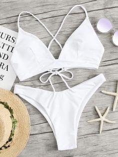 3b6fc60087ee2 Shop Braided Criss Cross Top With High Leg Bikini Set online. SheIn offers  Braided Criss