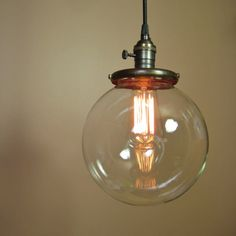 globe style pendant lighting | ... Pendant Light with 8 inch Clear Glass Globe and Edison Light Bulb