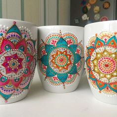 Love this woman's mandala work on mugs and plates (ana_artst Dot Art Painting, China Painting, Ceramic Painting, Mandala Drawing, Mandala Painting, Painted Coffee Mugs, Pottery Painting Designs, Mug Art, Hand Painted Plates
