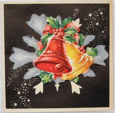 563 50s Festive Bells ON Dimentional Foam Vintage Christmas Greeting Card | eBay