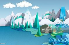 Stock Photo : Paper Craft Mountains and Sea Landscape