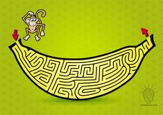 Funky like a monkey with this banana maze! CLICK on the picture to download the PDF maze!  Plus black and white maze you can print.   Like, share or leave