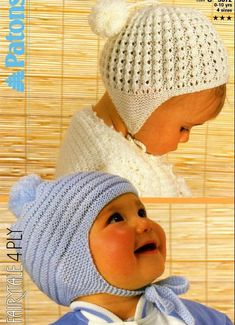 Knitting Pattern for bonnets/helmets to suit boy or girl. 4 sizes from newborn up to and including 10 years of age. Uses 4 ply yarn/light - knit on straight needles No resale rights - in accordance with Etsys policies ** 130 Baby Hat Knitting Pattern, Baby Hat Patterns, Baby Hats Knitting, Vintage Knitting, Knitting Patterns Free, Knit Patterns, Knitting For Kids, Knitted Hats, Crochet Hats
