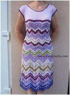 Платье спицами многоцветным узором зигзаг. Платье зигзаг спицами схема. | Я Хозяйка