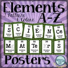 """Classroom posters that spell out the words """"Science Matters"""" using Elements from…"""