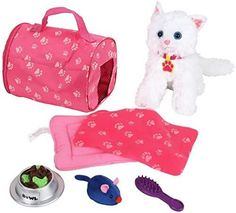 Click N' Play 8 Piece Doll Kitten Set and Accessories. Perfect for 18 inch American Girl Dolls Best Kitten Toys, Cat Toys, Toys For Girls, Kids Toys, Phone Watch For Kids, Girl Dolls, Baby Dolls, Doll Closet, Plush Animals