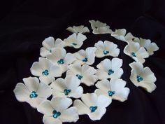 Hydrangeas Sugar Gumpaste White Pearl and Sapphire Rhinestones Set of 25 $35.00