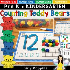 These counting bear number mats , activities and worksheets help kids learn numbers up to 30 (recently added). They are great for kids in preschool and kindergarten. Senses Activities, Motor Activities, Activities For Kids, Measurement Activities, Sorting Activities, Preschool Math, Kindergarten Math, Senses Preschool, Kids Math